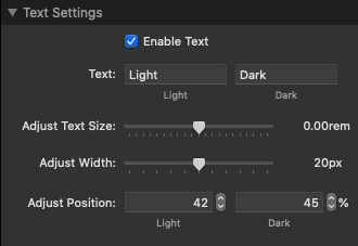 Toggle Switch text settings
