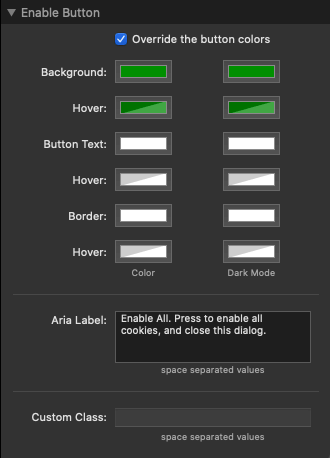 enable Button Settings
