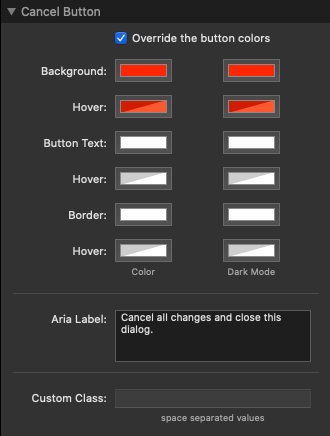 Cancel Button Settings