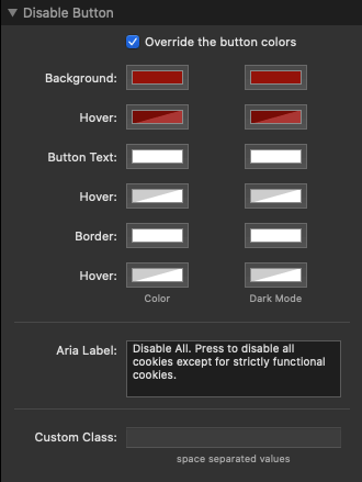 Disable Button Settings
