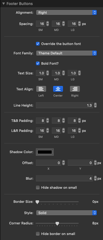 Footer Buttons Settings