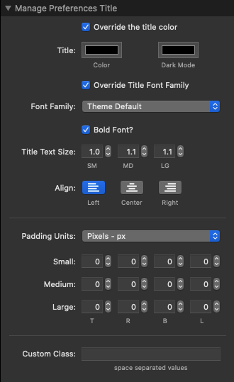 Manage Preferences Title Settings